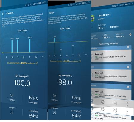 Capture d'écran de l'application SmartDriver de Masternaut